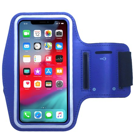 CBUS Blue Water Resistant Cell Phone Armband Running Sports Case for Apple iPhone X, XR, 8, 7, 6S, 6, SE, 5S, 5C, 5 - Adjustable, Reflective, with Screen Protection Blue Cell Phone Case
