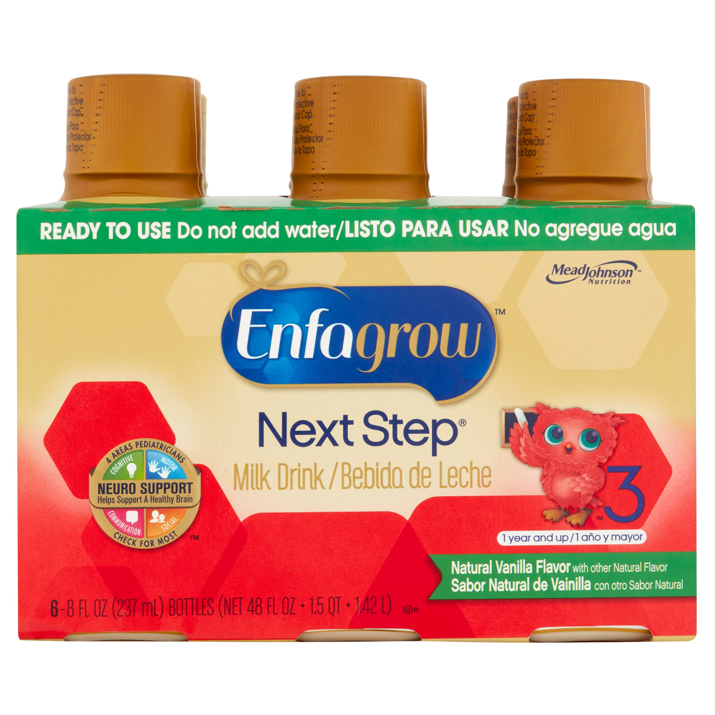 Enfagrow Toddler Next Step Vanilla (4 Pack) Milk Ready-to-Drink Milk Drink, 8 fl oz bottles, 6pk