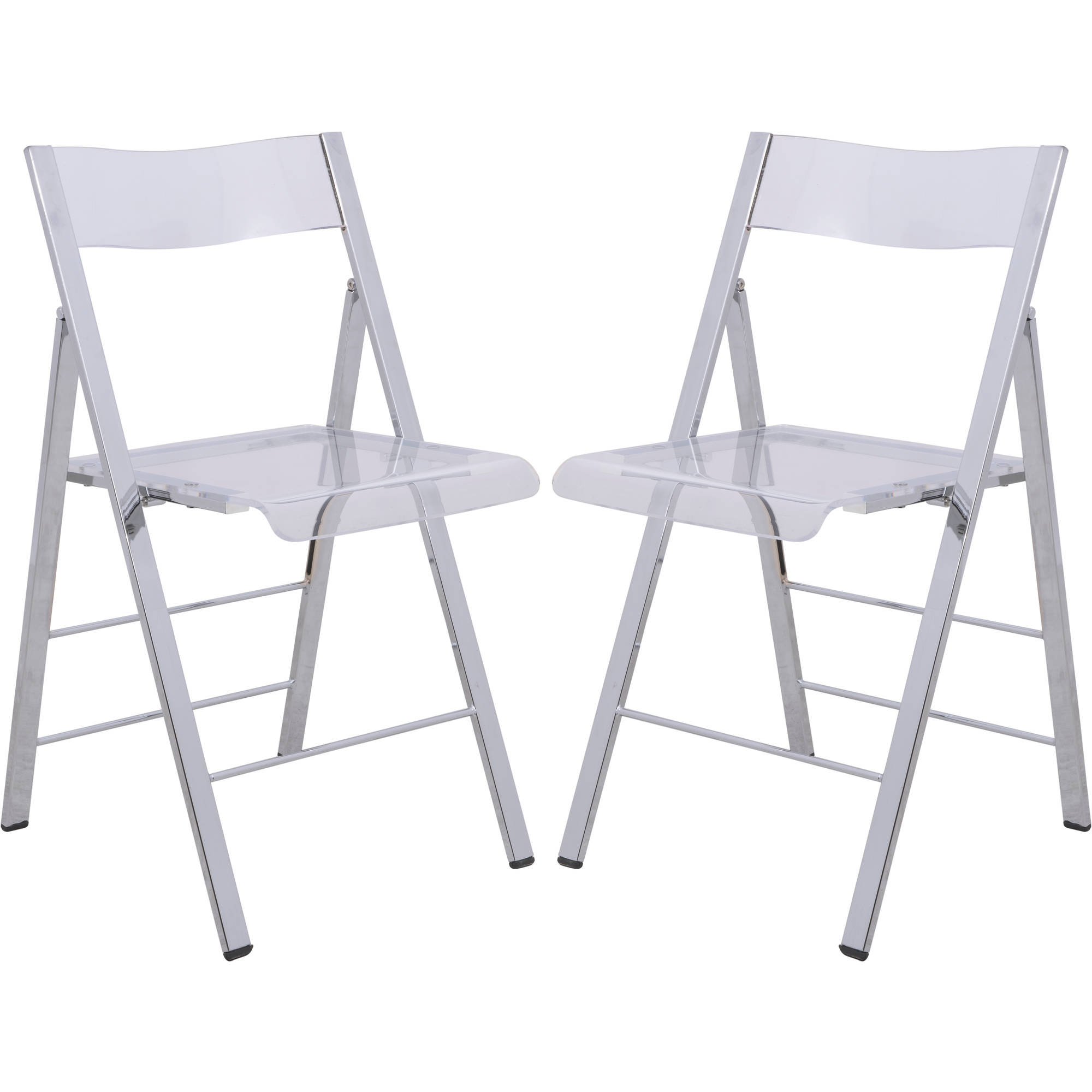 LeisureMod Menno Modern Acrylic Folding Chair in Clear, Set of 2