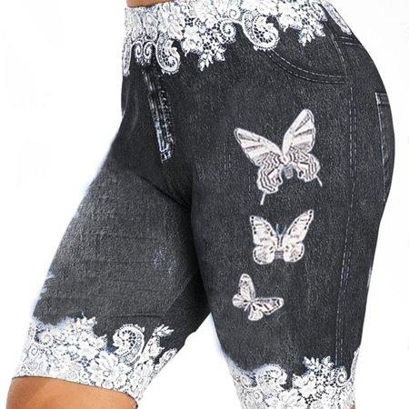 Lovaru Women Butterfly Print Faux Denim Jean Shorts