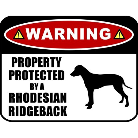 PCSCP Warning Property Protected by a Rhodesian Ridgeback (SILHOUETTE) 11.5 inch x 9 inch Laminated Dog