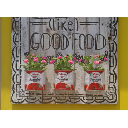 Acrylic Face Mounted Prints Deco Original Decorative Sign Tavern Tin Cans Print 20 x 16. Worry Free Wall Installation - Shadow Mount is Included.