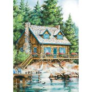 Lang Companies,  Cabin On The Lake Outdoor Flag-Mini - 12 x 18