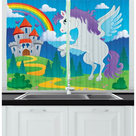 Kids Curtains 2 Panels Set, Fantasy Mythical Unicorn with Rainbow and Medieval Castle Fairy Tale Cartoon Design, Window Drapes for Living Room Bedroom, 55W X 39L Inches, Multicolor, by