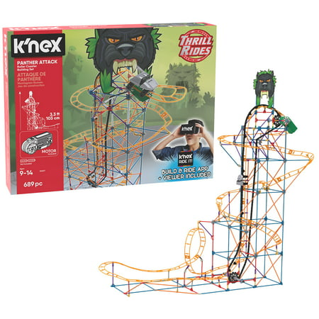 K'NEX Thrill Rides – Panther Attack Roller Coaster 690 Piece Building Set
