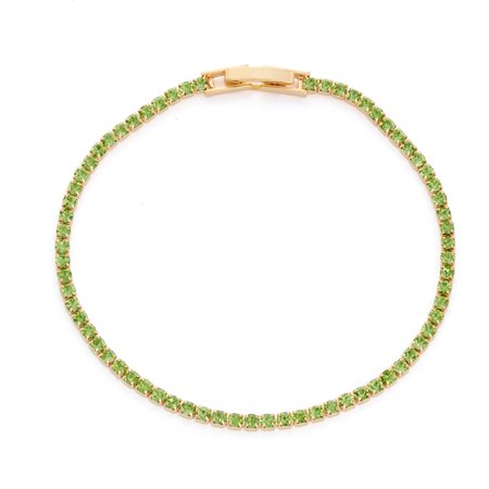X & O 14KT Gold Plated Crystal Solid Pastel Tone Style Single Row Bracelet in Peridot