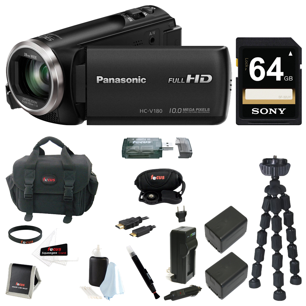 Panasonic HC-V180 HD Video  Camcorder 64GB Card + 2 Batte...