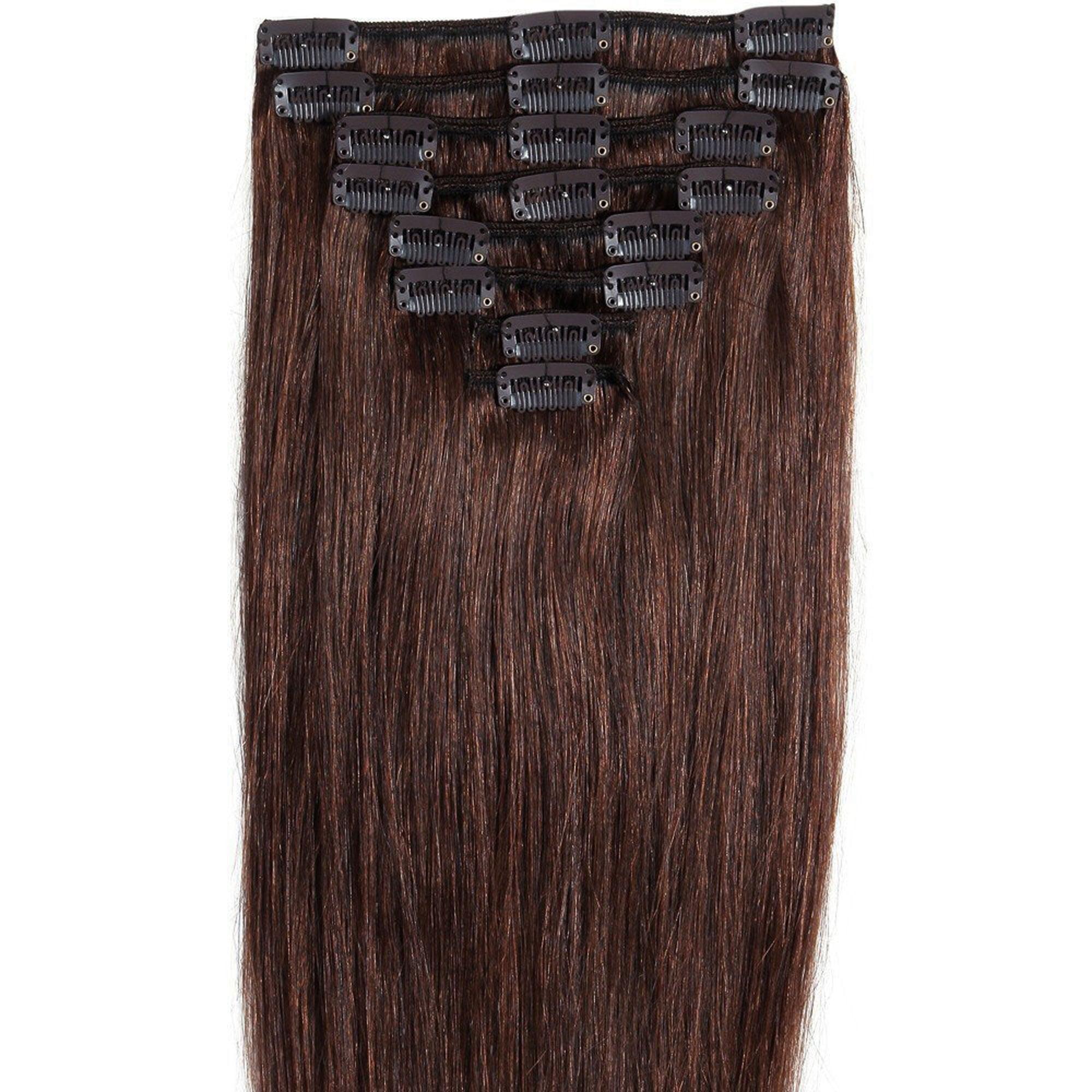 "FLORATA 10""-22"" Straight Single Light Weft 8pcs Full Head Set Clip In Human Hair Extension"