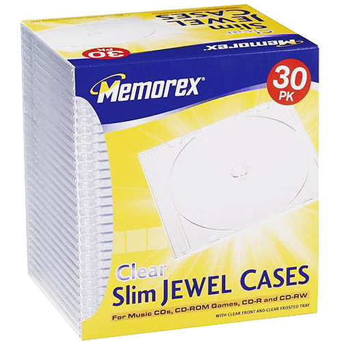 Memorex 30-Pack Slim CD/DVD Jewel Case