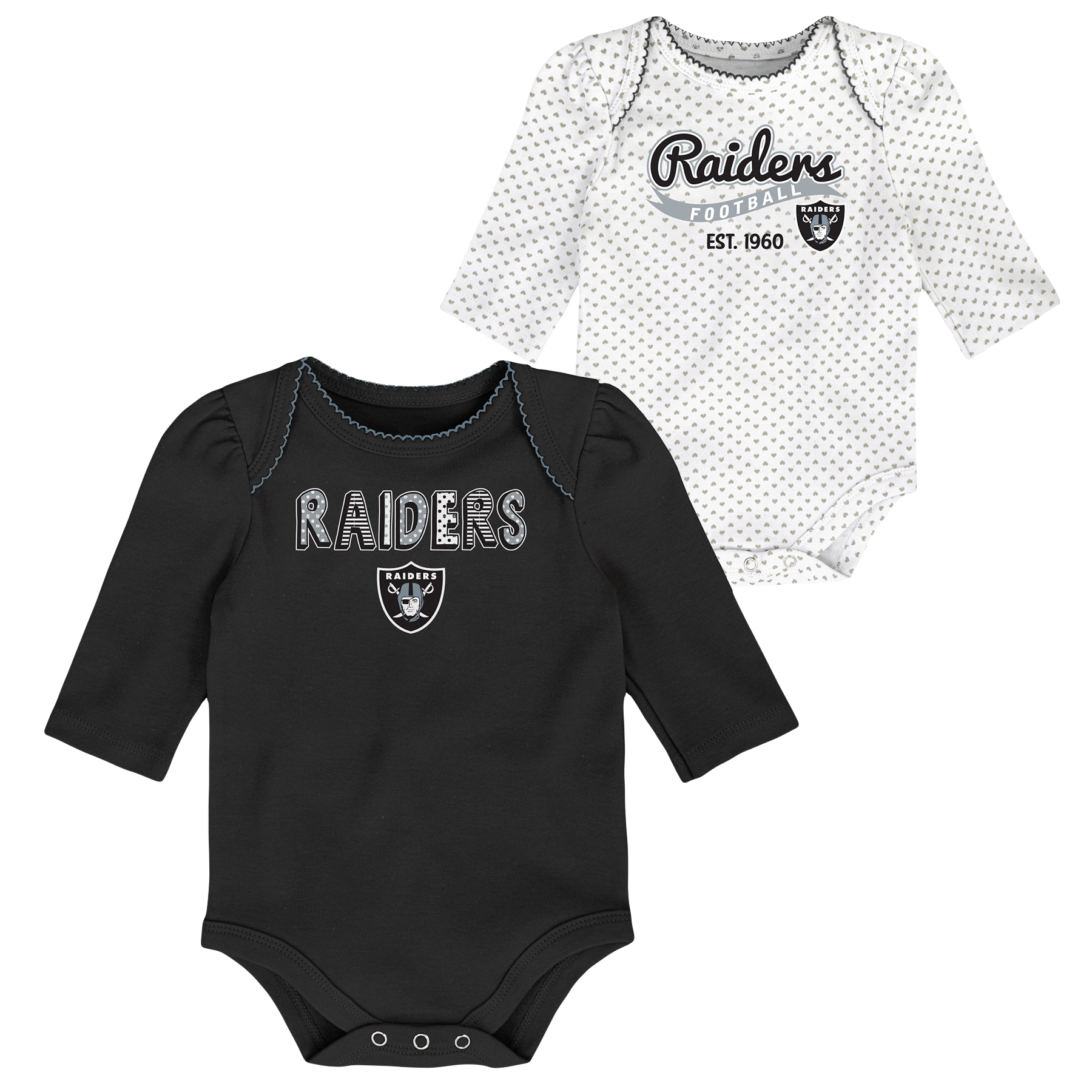 Girls Newborn & Infant Black/White Oakland Raiders 2-Pack Long Sleeve Bodysuits