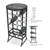 Sorbus Wine Rack Stand Glass Table Top,18 Bottles, Wine Storage Organizer Display Rack Table for Dining Room, Kitchen, Wine Cellar, Bar and more - Great for Small Spaces