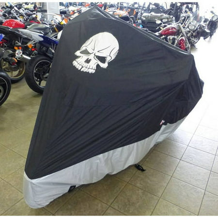 Formosa Covers Deluxe all season Motorcycle cover SKULL logo in Black. Fits up to 108