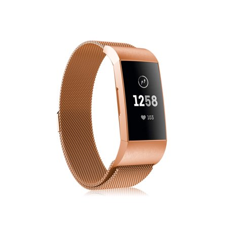 Fintie Band for Fitbit Charge 3 / Charge 3 SE Fitness Activity Tracker Stainless Steel Replacement Bracelet Rose Gold