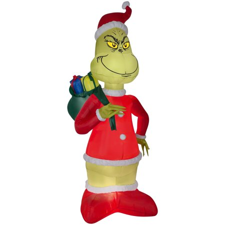 Grinch Santa With Presents Airblown Christmas Decoration