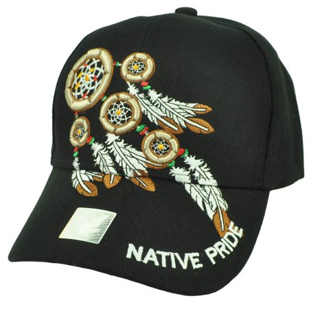Native Indian American Pride Dream Catchers Symbol Feather Black Hat Curved (The Hut Store)