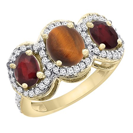 14K Yellow Gold Natural Tiger Eye & Enhanced Ruby 3-Stone Ring Oval Diamond Accent, size - Gold Ruby Eyes
