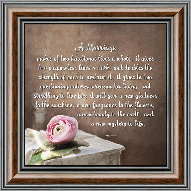 Wedding Poems For Bride And Groom: A Marriage, Mark Twain Poem, Picture Framed Wedding Gift