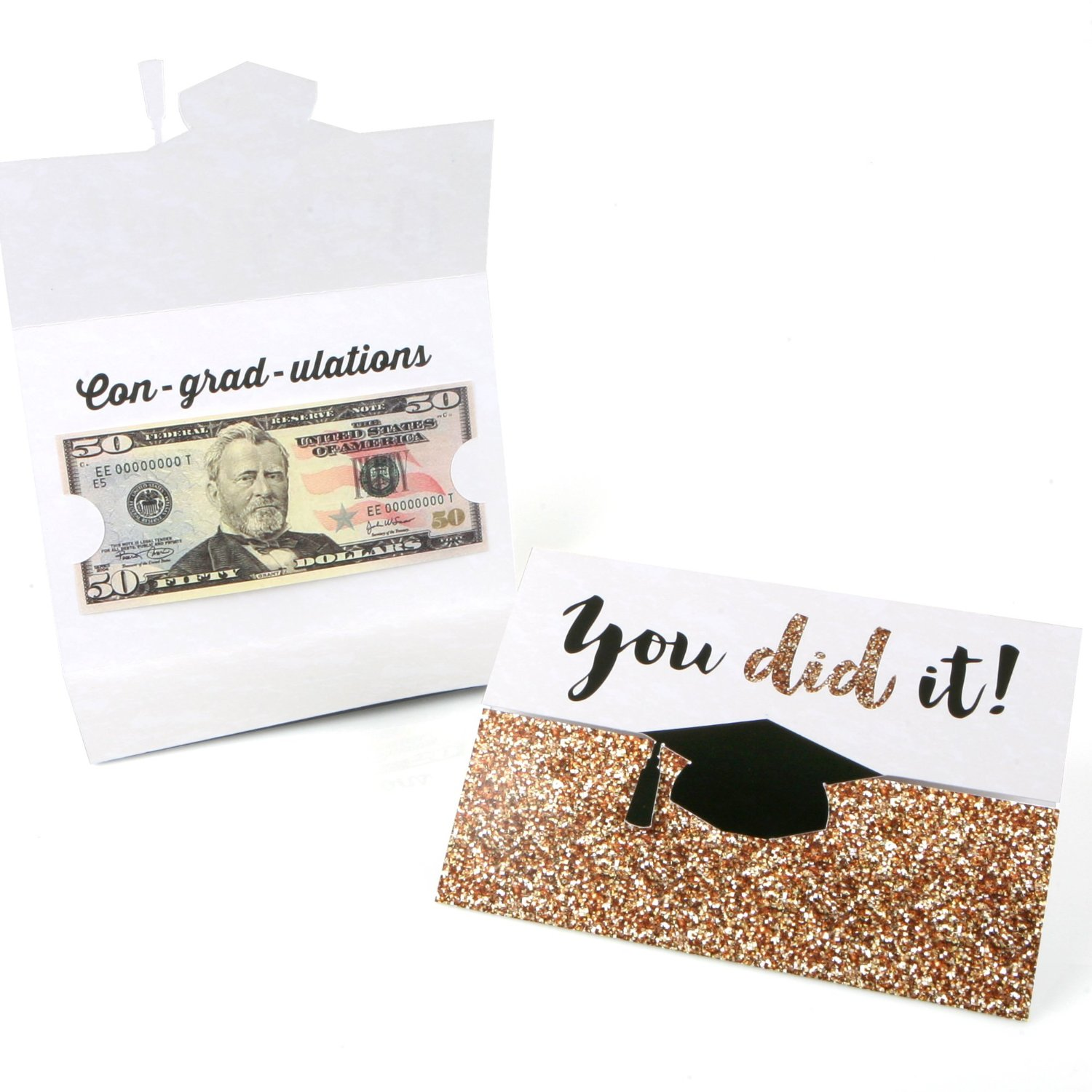 Gold - Tassel Worth The Hassle - Graduation Money Holder Cards - Set of 8