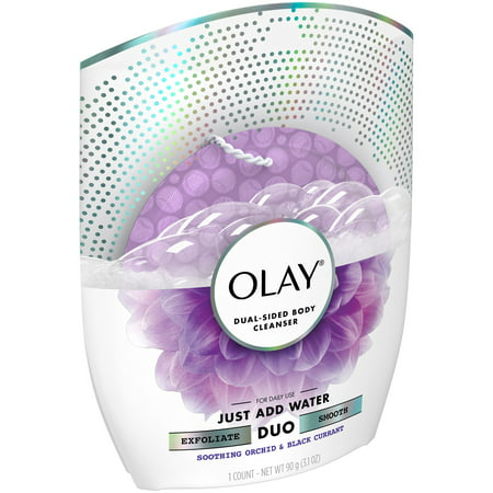 Olay Soothing Orchid   Black Currant Dual Sided Body Cleanser 3 1 Oz  Package