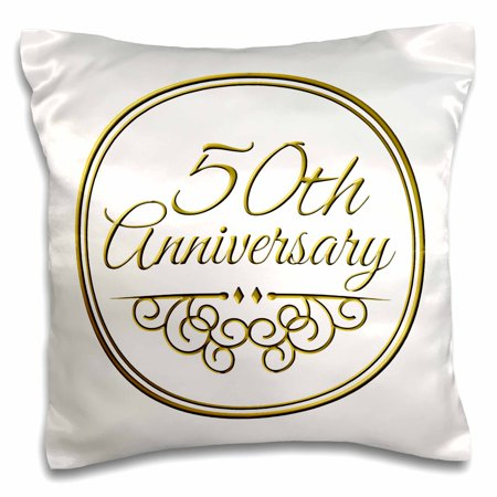 3dRose 50th Anniversary gift - gold text for celebrating wedding anniversaries - 50 years married together, Pillow Case, 16 by 16-inch