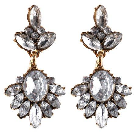 Retro Style Woman Rhinestones Decor Pendant Earrings Pair White Gold Tone - image 4 of 4