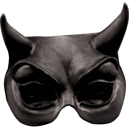 Halloween Devil Mask (Black Devil Latex Half Mask Adult Halloween)
