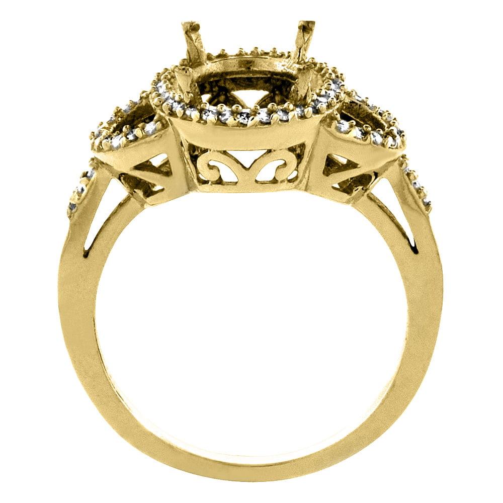 14K Yellow Gold Natural Diamond Sleeping Beauty Turquoise Halo Ring