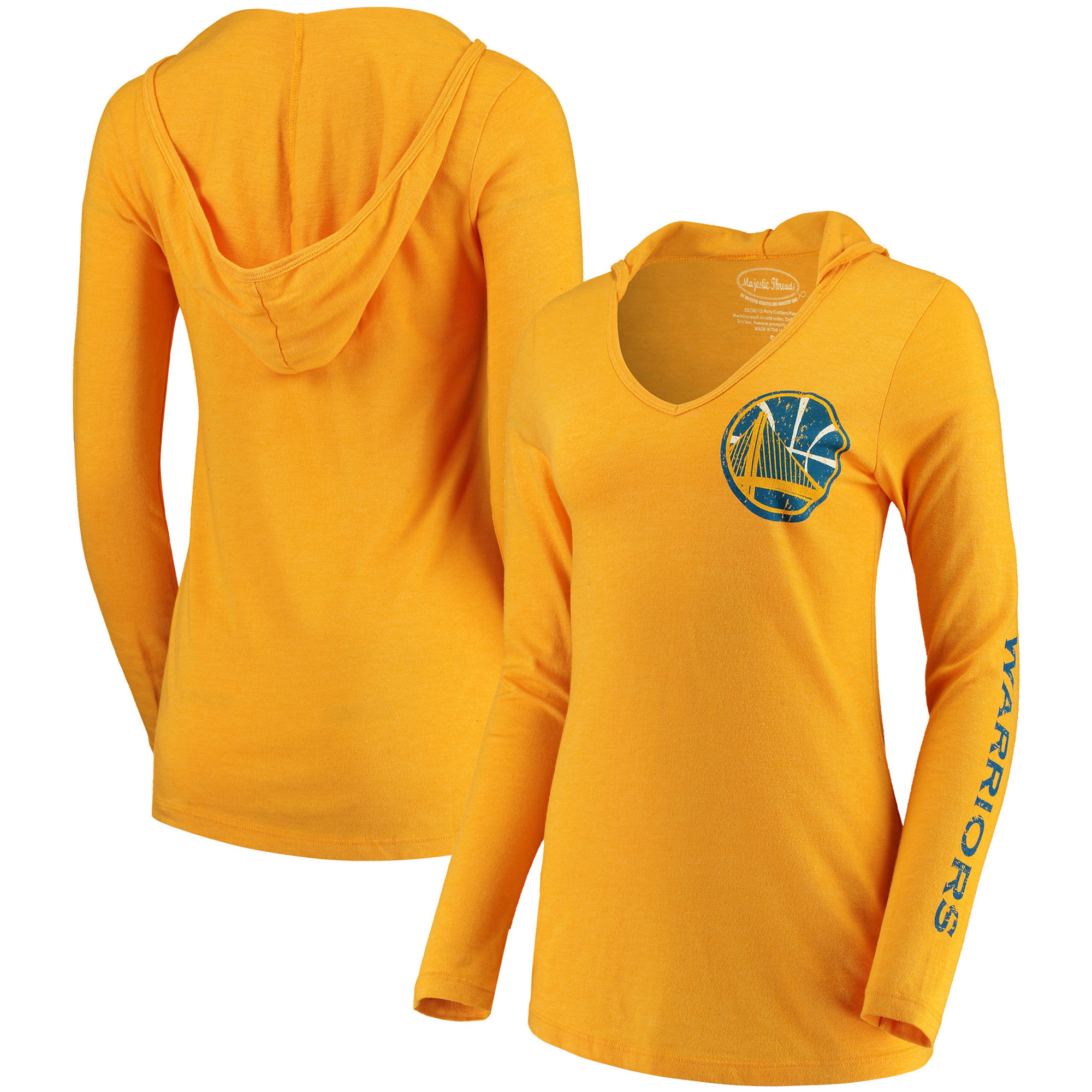 Golden State Warriors Majestic Threads Women's Tri-Blend V-Neck Pullover Hoodie - Gold