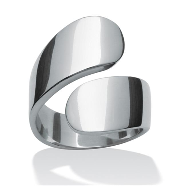 PalmBeach Jewelry 5054110 Stainless Steel Bypass Ring - Size 10