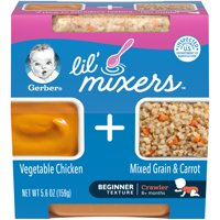 (Pack of 6) Gerber 3rd Foods Lil Mixers Baby Food, Vegetable Chicken with Mixed Grain & Carrot, 5.6 oz Tub