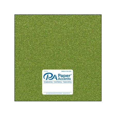 Cdstk Glitter 12x12 85lb Olive Green 5pc