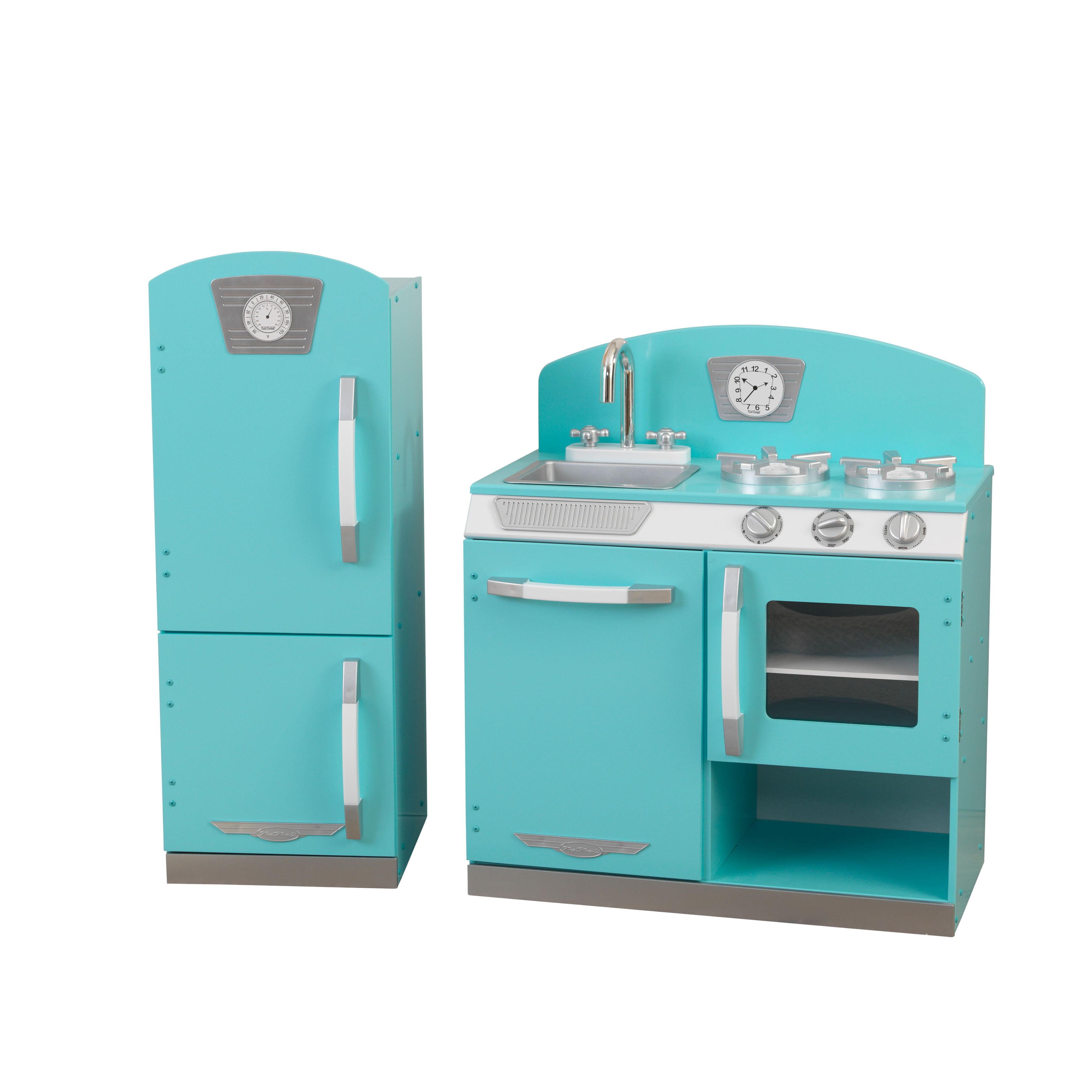 Kidkraft Kitchen Blue kidkraft blue retro kitchen and refrigerator - walmart