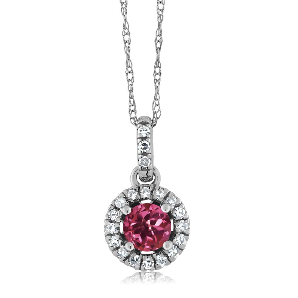 8K White Gold Diamond Halo Solitaire Pendant with 0.34 Ct Round Pink Tourmaline by