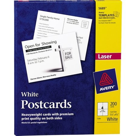 Avery Postcards for Laser Printers, 4 1/4 x 5 1/2, Uncoated White, 4/Sheet, (Card Box Ideas)