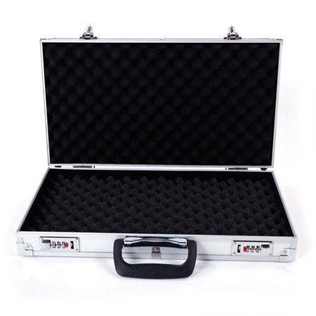 Ktaxon Aluminum Hard Lock Pistol Gun Case Foam Padded Handgun Carry Storage Box With 2 Combination Lock Silver