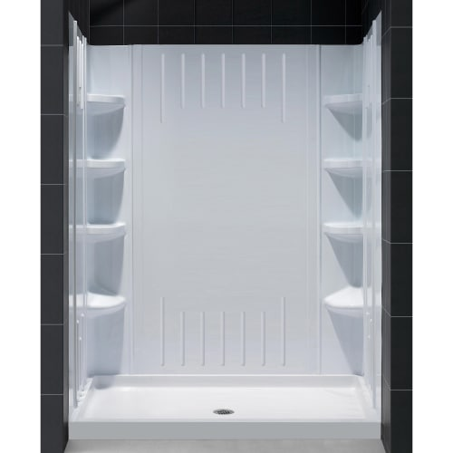 DreamLine 32 in. D x 60 in. W x 75 5/8 in. H Center Drain Acrylic Shower Base and QWALL-3 Backwall Kit In White
