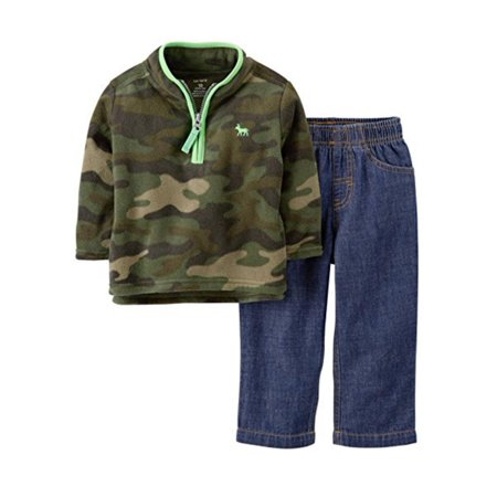 - Carters Infant Boys 2 Piece Outfit Camouflage Fleece Moose Jacket Blue Jeans