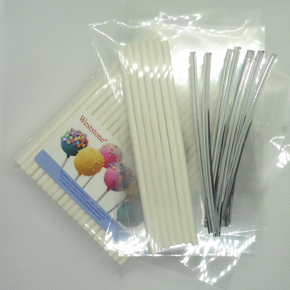 "Weststone - 100pcs 6"" Lollipop Sticks + 100 Poly Bags + 100 Silver Twist Ties for Cake Pops"