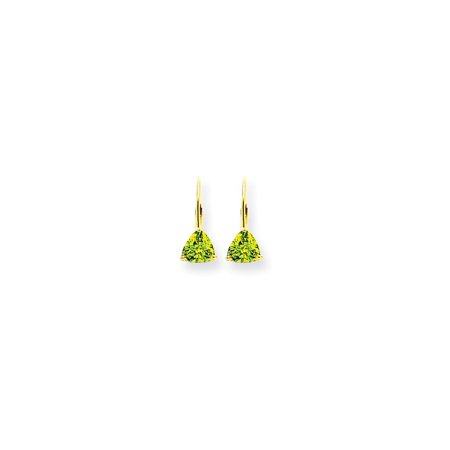 14kt Yellow Gold 6mm Trillion Green Peridot Leverback Earrings Lever Back Drop Dangle Gemstone Prong Fine Jewelry Ideal Gifts For Women Gift Set From Heart Augusta Yellow Green
