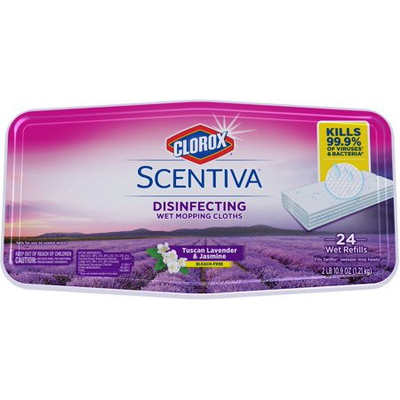 Clorox Scentiva Disinfecting Wet Mopping Pad Refills for Floor Cleaning Tuscan Lavender & Jasmine, 24 Count Wet - 18 Microfiber Wet Mop Pad