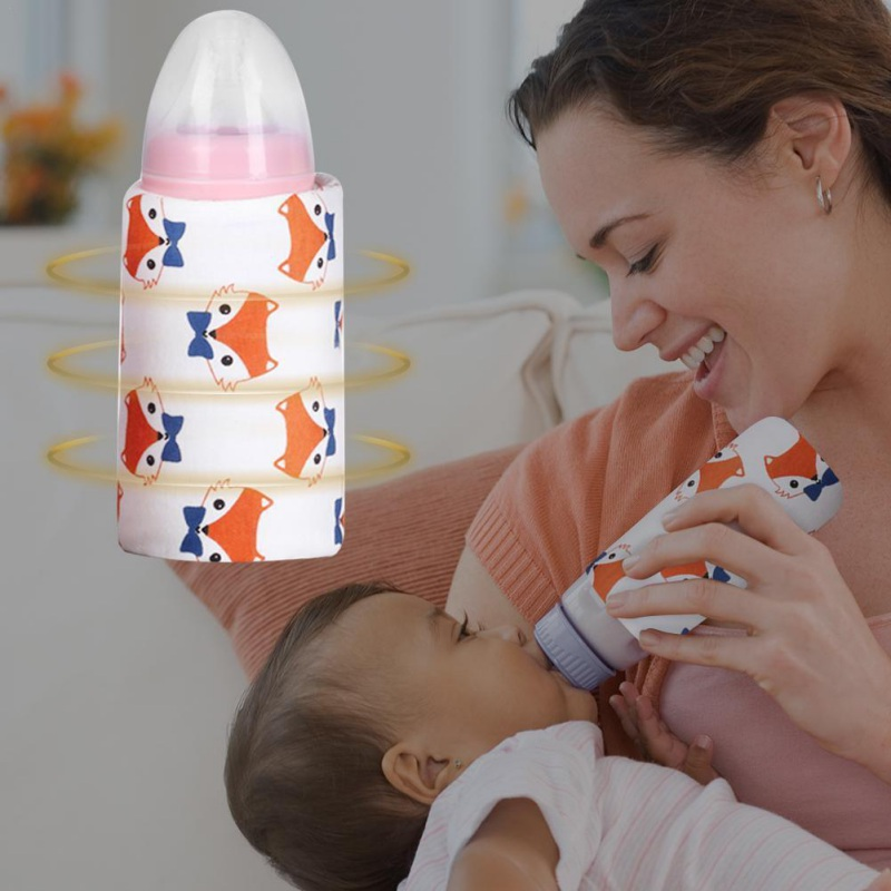 Outdoor Portable Constant Temperature Car Baby Bottle,Car Charger Double Bottle Warm Milk Heater for Milk Storage Bag