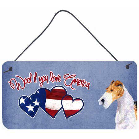 Woof if you love America Fox Terrier Wall or Door Hanging Prints SS4990DS612