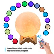 Aibecy Moon Lamp 3D Print LED Night Light 16 Glowing Colors with Stand Remote Control Touch Control USB Rechargeable for Home Decor Baby Kid Women Christmas Birthday Gift, Diameter 18cm/ 7.1in