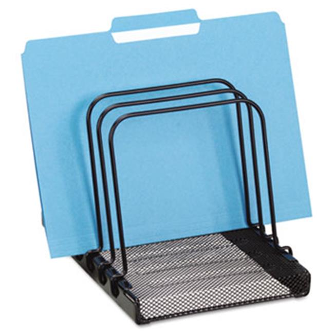 Eldon Office Products 1742323 Mesh Flip File Folder Sorter, Five Sections, Black, 7 4/5 x 1 7/8 x 10 2/5