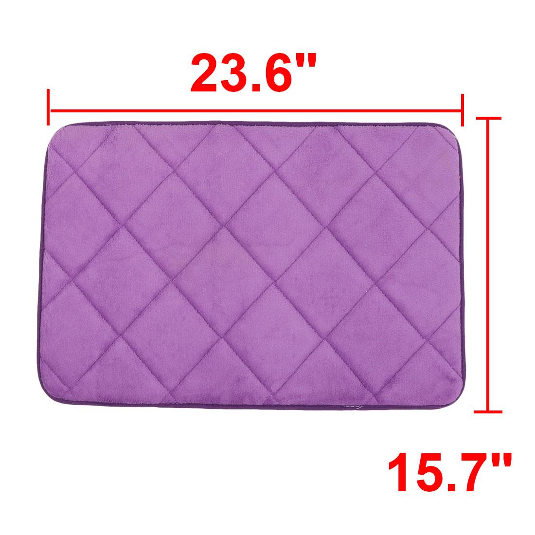Bathroom Coral Fleece Slip Resistant Washable Floor Rug Carpet Doormat Purple - image 1 de 4