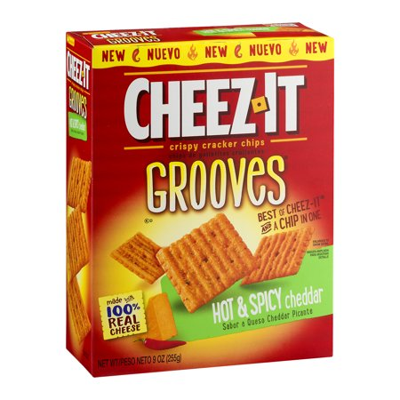 Cheez-It Grooves Crispy Cheese Cracker Chips, Hot & Spicy Cheddar 9 oz