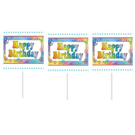 Peace Sign Happy Birthday Party Cupcake Picks - Happy Birthday Peace Sign