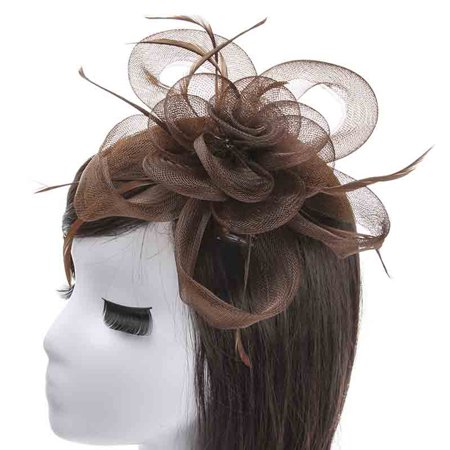 Fascinator Hats for Women Ladies, Elegant Fascinator Headband Flower Headdress Hair Clip Hair Accessories for Banquet Wedding Tea - Tea Party Wedding