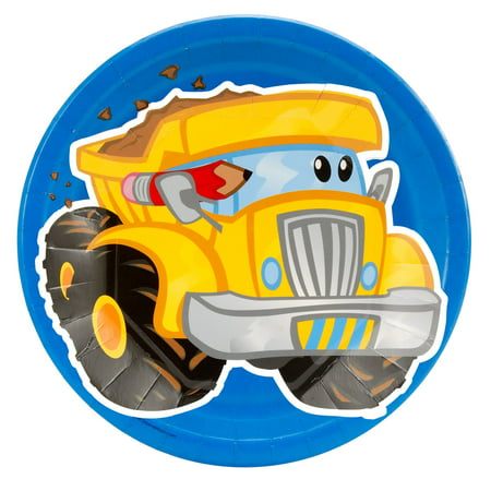 Construction Pals Dump Truck Dinner Plates, 8pk