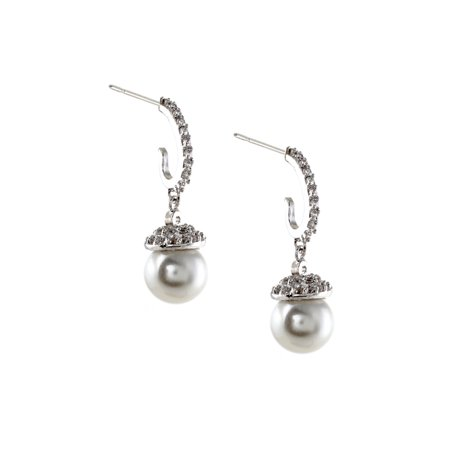 Rhodium Crystal Cubic Zirconia Dangle Earrings with White Pearl